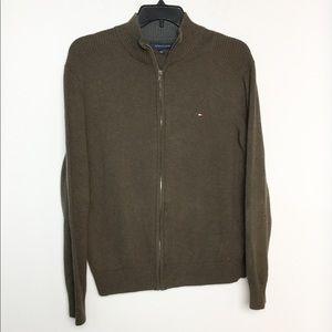 Tommy Hilfiger L Cardigan Sweater Brown EUC